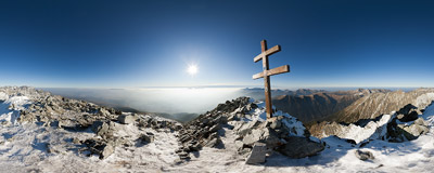 On the summit of Kriváň (2495 m) in the Slovak Tatra Mountains.  Click to view this panorama in new fullscreen window