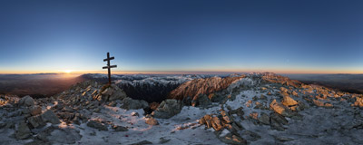 Watching the sunset on the summit of Kriváň (2495 m) in the Slovak Tatra Mountains.  Click to view this panorama in new fullscreen window