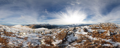 Below the summit of Krzesanica (2122 m), the tallest peak of the Czerwone Wierchy ridge in the Tatra Mountains.  Click to view this panorama in new fullscreen window