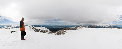 On the summit of Krzesanica (2122 m), the highest of four Czerwone Wierchy peaks in the Tatra Mountains.  Click to view this panorama in new fullscreen window