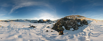 The ruins of a 19th-century stone-walled shelter above the Krzyżne pass (2113 m) in the Tatra Mountains.  Click to view this panorama in new fullscreen window