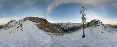 The famous viewpoint of the Krzyżne pass (2113 m) in the Tatra Mountains.  Click to view this panorama in new fullscreen window