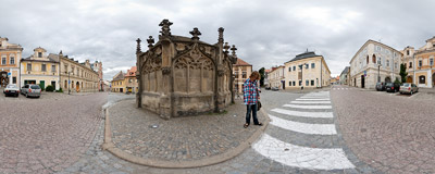 The 15th-century Gothic fountain on Rejskovo náměstí in Kutná Hora in the Czech Republic.  Click to view this panorama in new fullscreen window