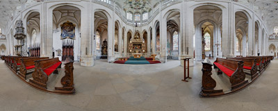 Inside the Gothic church of St. Barbara in Kutná Hora in the Czech Republic.  Click to view this panorama in new fullscreen window