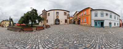 A narrow Barborská Street leads from the centre of Kutná Hora to St. Barbara's church, passing by a medieval castle of Hrádek, nowadays home of the Czech Museum of Silver.  Click to view this panorama in new fullscreen window