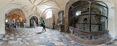 Inside the Sedlec Ossuary in Kutná Hora in the Czech Republic.  Click to view this panorama in new fullscreen window