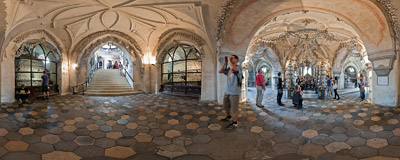 Inside the Sedlec Ossuary, a small Roman Catholic chapel, located beneath the Cemetery Church of All Saints in Sedlec, a suburb of Kutná Hora in the Czech Republic.  Click to view this panorama in new fullscreen window