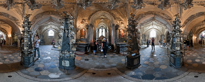 Inside the Sedlec Ossuary in of Kutná Hora in the Czech Republic.  Click to view this panorama in new fullscreen window