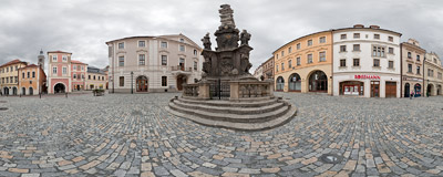 The 18th-century plague column on Šultysova Street in Kutná Hora in the Czech Republic.  Click to view this panorama in new fullscreen window
