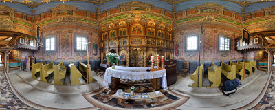 The 17th-century Greek Orthodox church of Saint Paraskeva in Kwiatoń.  Click to view this panorama in new fullscreen window