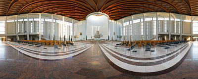 Inside the Basilica of Divine Mercy in Kraków-Łagiewniki.  Click to view this panorama in new fullscreen window