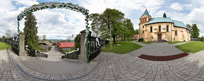 Lanckorona, a village south of Kraków.  Click to view this panorama in new fullscreen window