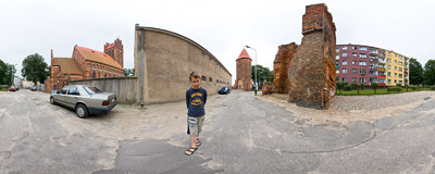 Ruins of 14th century town walls in Lębork.  Click to view this panorama in new fullscreen window
