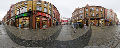 Staromiejska Street in Lębork.  Click to view this panorama in new fullscreen window
