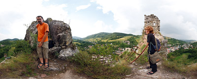 Inside the ruins of a 13th-century castle in Lednica, Western Slovakia.  Click to view this panorama in new fullscreen window