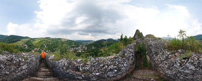 Inside the ruins of a 13th-century castle in Lednica, Western Slovakia: eighty stairs cut into the rock lead to the lookout point.  Click to view this panorama in new fullscreen window