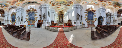 Inside the late-Baroque church of St. Hedwig in Legnickie Pole.  Click to view this panorama in new fullscreen window