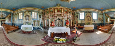 The wooden Eastern-Orthodox church of St. Demetrios (1861) in Leluchów.  Click to view this panorama in new fullscreen window