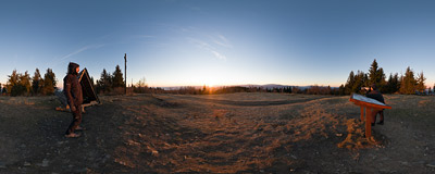 Sun rising over the Gorce mountains, watched from the summit of Leskowiec (922 m) in the Beskid Mały mountain range.  Click to view this panorama in new fullscreen window