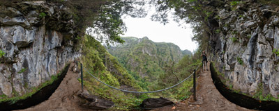 Levada do Caldeirão Verde: a popular and picturesque trail in the mountains of Madeira.  Click to view this panorama in new fullscreen window