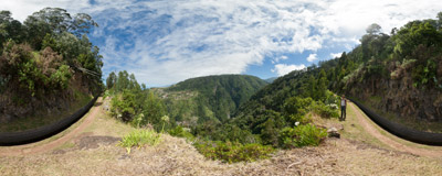 A wise and pleasant beginning of the Levada do Ribeira da Janela on the north side of Madeira.  Click to view this panorama in new fullscreen window