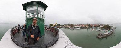 On the 19th-century lighthouse in a German town of Lindau on the northern shore of Lake Constance.  Click to view this panorama in new fullscreen window