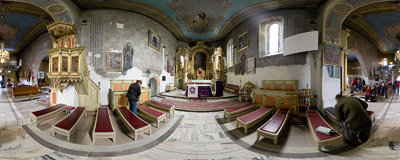Inside the St. Andrew's church in Lipnica Murowana.  Click to view this panorama in new fullscreen window