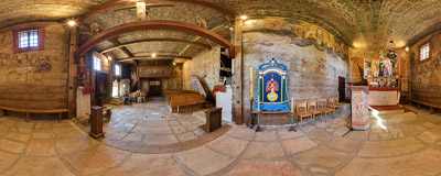 Interior of St. Leonard's church in the village of Lipnica Murowana.  Click to view this panorama in new fullscreen window