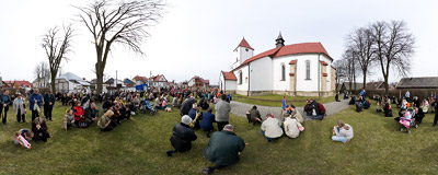 Palm Sunday in the village of Lipnica Murowana.  Click to view this panorama in new fullscreen window