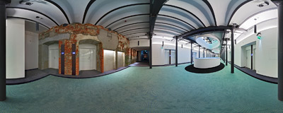 The second floor corridor in the four-star deluxe design hotel that was opened in the restored industrial building in June 2009.  Click to view this panorama in new fullscreen window