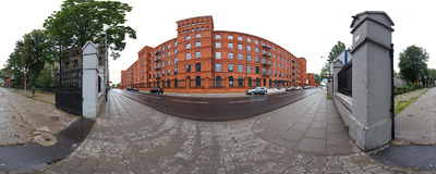 A 19th century textile factory building, now housing the Andel's Hotel.  Click to view this panorama in new fullscreen window