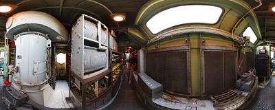 Inside the machine compartment of a Czech-constructed electric locomotive.  Click to view this panorama in new fullscreen window