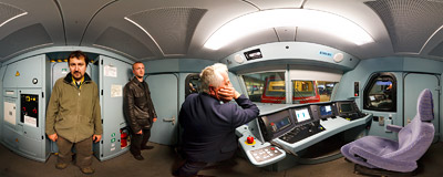 Inside the driver's compartment of an EU43 electric locomotive.  Click to view this panorama in new fullscreen window