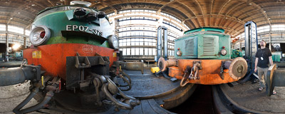 The railway workshop in Kraków-Płaszów.  Click to view this panorama in new fullscreen window