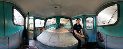 Kraków-Płaszów railway workshop - inside the cabin of a small Ls150 diesel locomotive.  Click to view this panorama in new fullscreen window