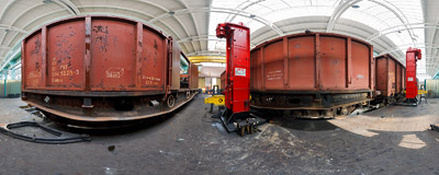 Inside the Kraków-Prokocim railway engine workshop.  Click to view this panorama in new fullscreen window