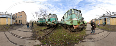 Some locomotives are waiting for their turn to be scrapped in front of the Kraków-Prokocim engine depot.  Click to view this panorama in new fullscreen window