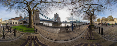Between the Tower of London and the Tower Bridge.  Click to view this panorama in new fullscreen window