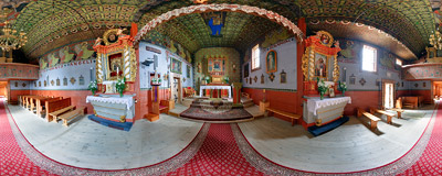 Inside the 15-16th century wooden church of Holy Trinity and St. Anthony in Łopuszna.  Click to view this panorama in new fullscreen window
