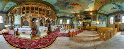 Inside the 19th century tserkva of the Nativity of the Blessed Virgin Mary in Łosie.  Click to view this panorama in new fullscreen window