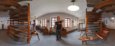Inside the Olomouc Cheese Museum in Loštice, Czech Republic.  Click to view this panorama in new fullscreen window