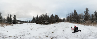 The first day of winter at the summit of Lubań (1211 m) in the Gorce mountain range.  Click to view this panorama in new fullscreen window