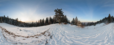 On the green-marked trail from Tylmanowa to Lubań (1211 m) in the Gorce mountain range.  Click to view this panorama in new fullscreen window