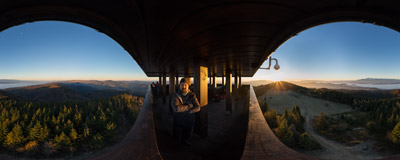 Watching another of this autumn's many beautiful sunrises on a brand new viewing tower on the summit of Lubań (1211 m) in the Gorce mountain range.  Click to view this panorama in new fullscreen window