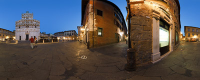 Piazza San Michele in Lucca (Tuscany, Italy) with the white facade of the 11th-century church of San Michele in Foro.  Click to view this panorama in new fullscreen window