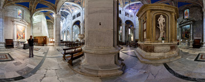 Inside St. Martin's Cathedral (Duomo di San Martino) in Lucca, Italy.  Click to view this panorama in new fullscreen window
