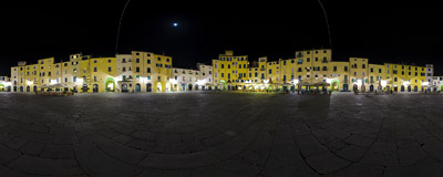 Piazza dell' Anfiteatro in Lucca (Tuscany, Italy).  Click to view this panorama in new fullscreen window