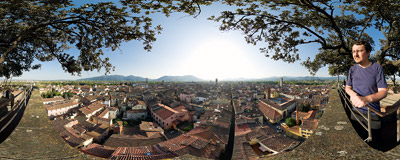 Torre Guinigi in Lucca is famous for its helm oak grove on top.  Click to view this panorama in new fullscreen window