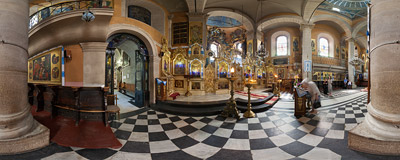 Inside the Orthodox Church of the Assumption of the Blessed Virgin Mary (commonly known as Uspieńska church or the Wallachian Church) in Lviv's Old Town.  Click to view this panorama in new fullscreen window