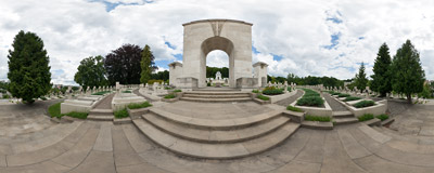 The triumphal arch at the Cemetery of the Defenders of Lwów in Lviv, Ukraine.  Click to view this panorama in new fullscreen window